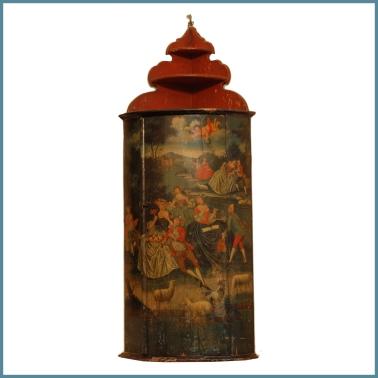 Coppia di angoliere pensili, laccate e dipinte, raffiguranti feste campestri, Piemonte, XVIII secolo