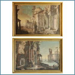 Pietro Paltronieri detto Mirandolese delle Prospettive (1673-1741), Tempere su tela rappifuranti architetture con personaggi